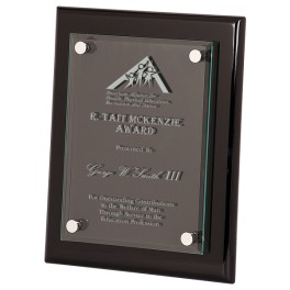 Black Piano Floating Glass Plaque