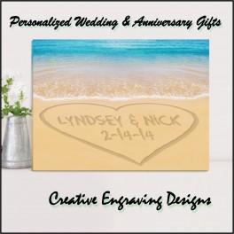 Our Names on Beach - Wedding Canvas
