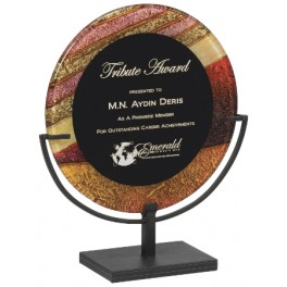 Autumn Harvest Round Acrylic Art Plaque with Iron Stand
